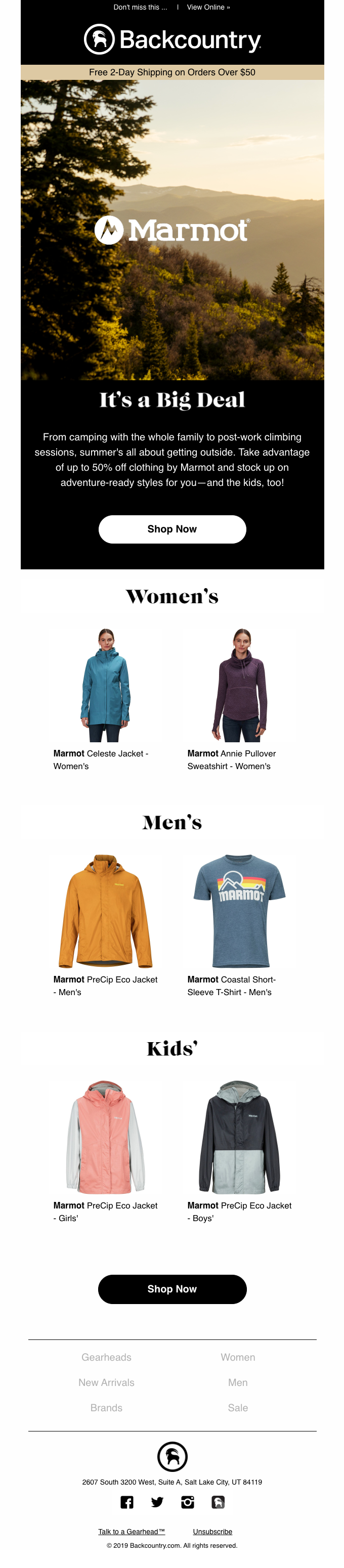Up to 50% off Clothing by Marmot