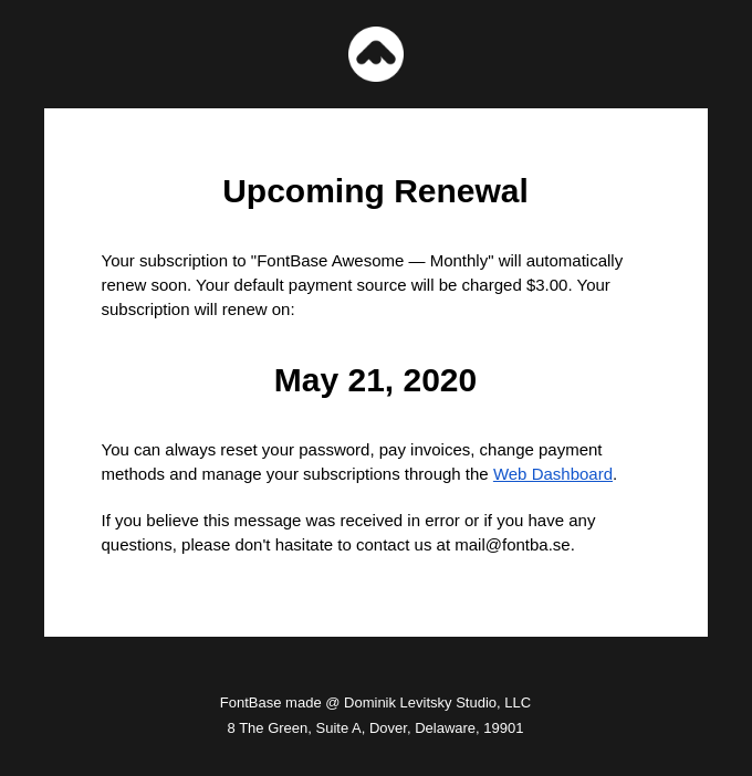 Upcoming Renewal