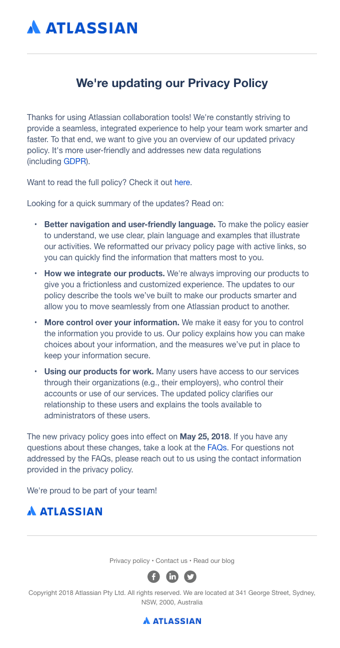 Updates to Atlassian's Privacy Policy