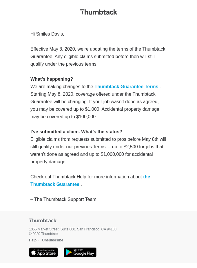 Updates to the Thumbtack Guarantee