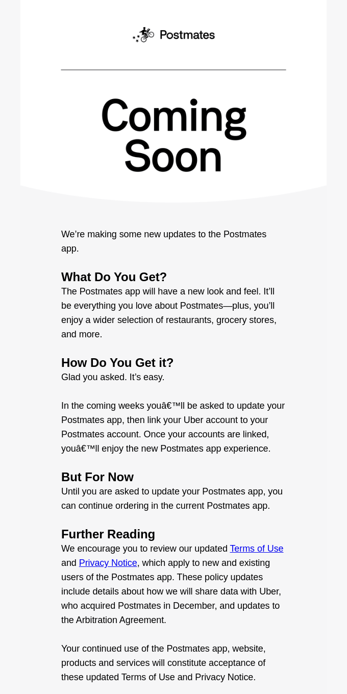 Updates to Your Postmates Experience