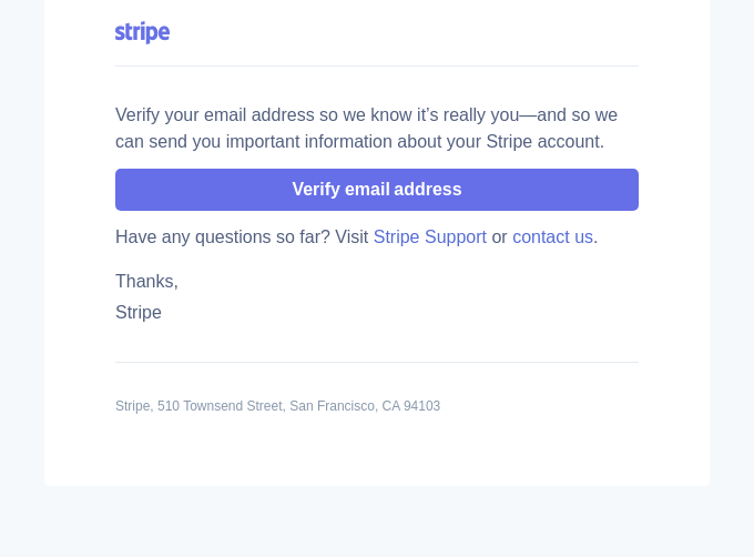 Verify your email to start using Stripe
