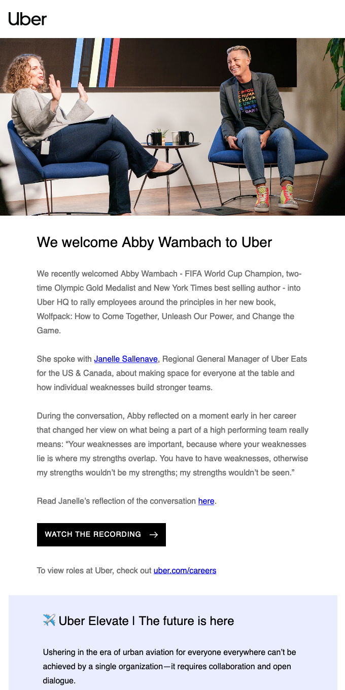 [Video] Abby Wambach speaks at Uber HQ