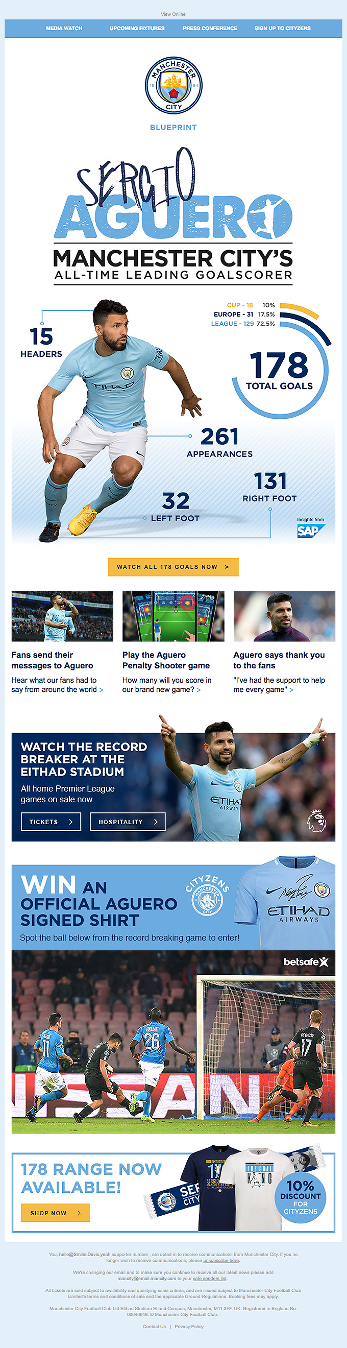 Watch all Aguero's goals, win his shirt & a message from him!