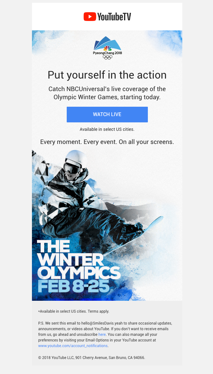 Watch the Winter Olympics | NBCUniversal's live coverage starts today on YouTube TV