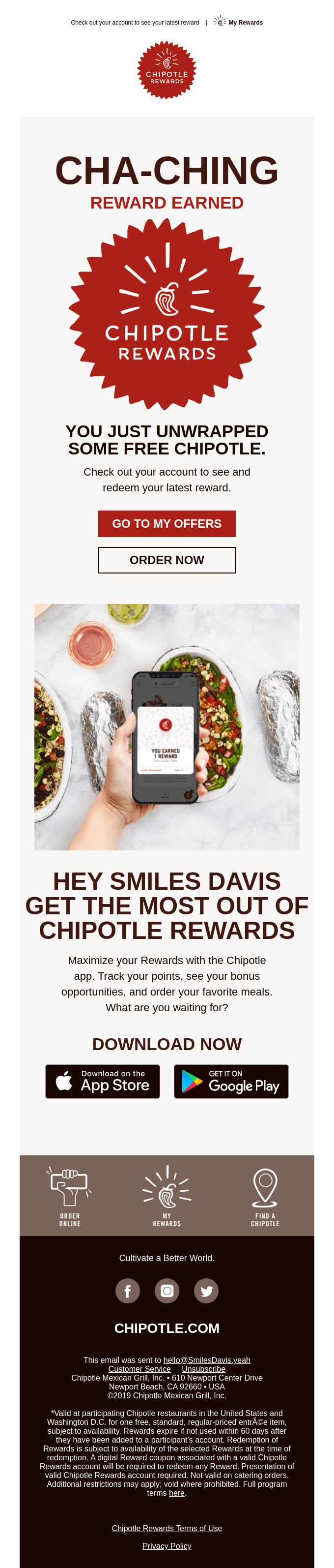 Way to Chipotle, you earned a reward