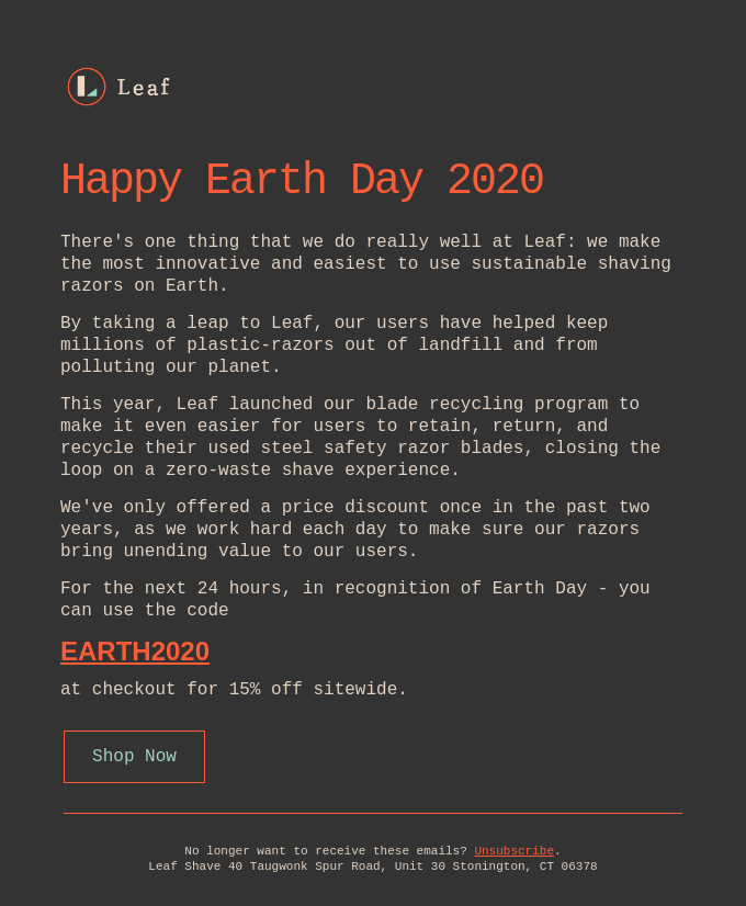 We never do this, but happy Earth Day