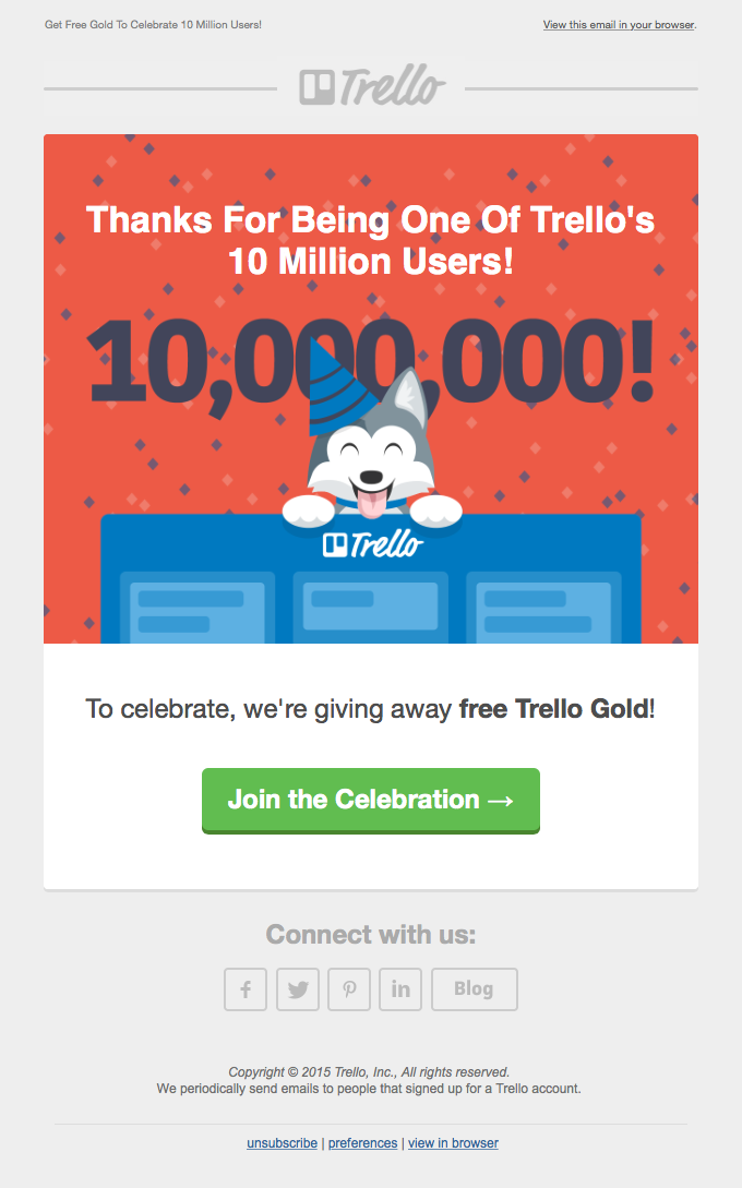 We think you're 1 in 10 million. Here's some free Trello Gold. 😉