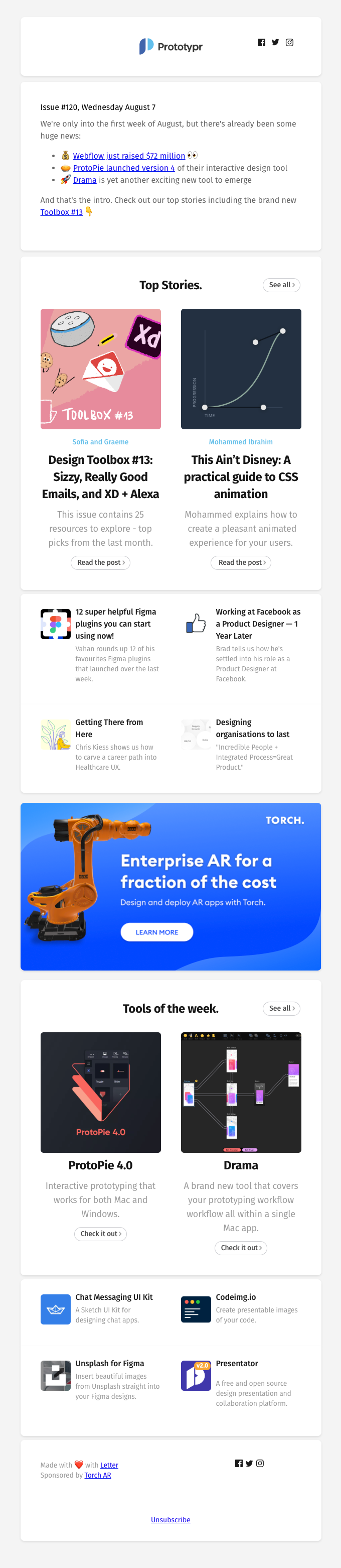 Webflow just raised $72 million 👀, ProtoPie launch 4.0 🥧, and Prototypr Toolbox #13 is out!