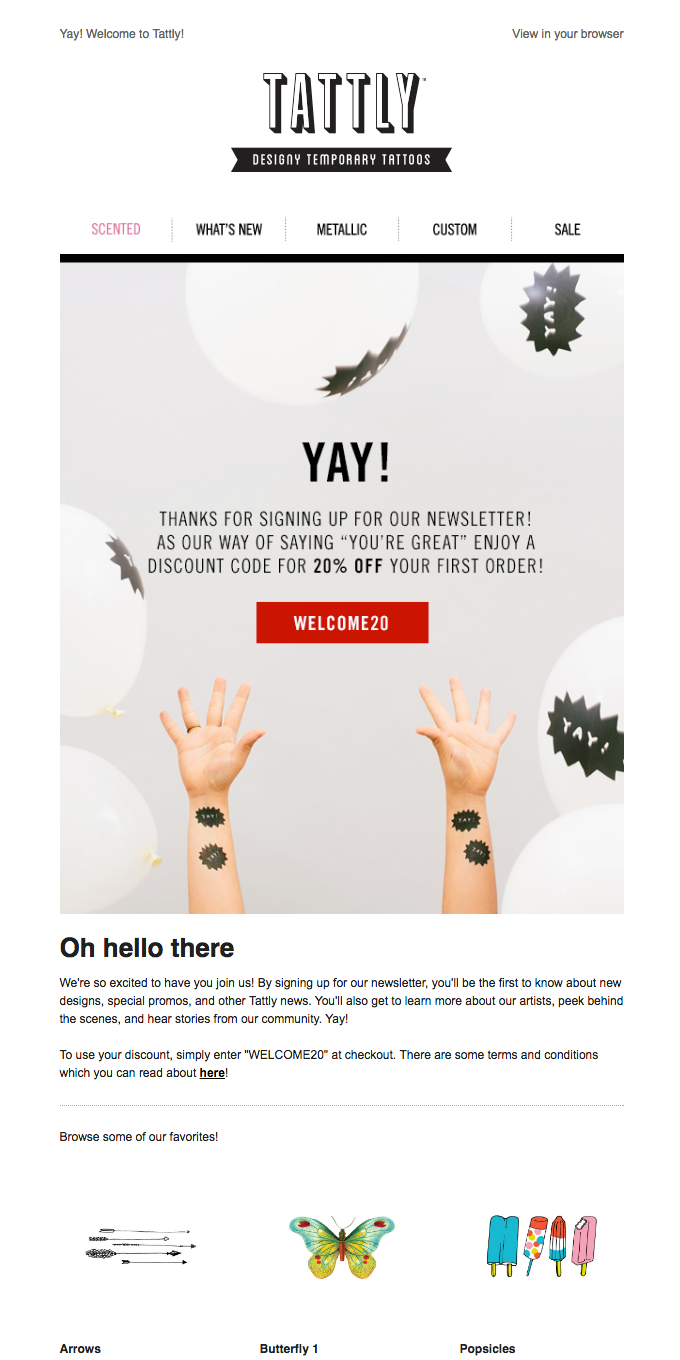 Welcome! Here's your discount code!