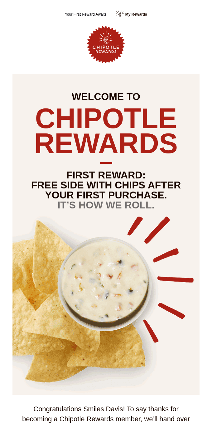 Welcome to Chipotle Rewards 👋