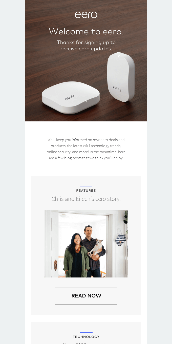Welcome to eero — Thanks for signing up to receive updates