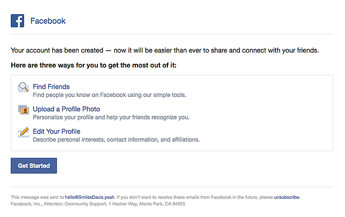 Welcome to Facebook   Really Good Emails
