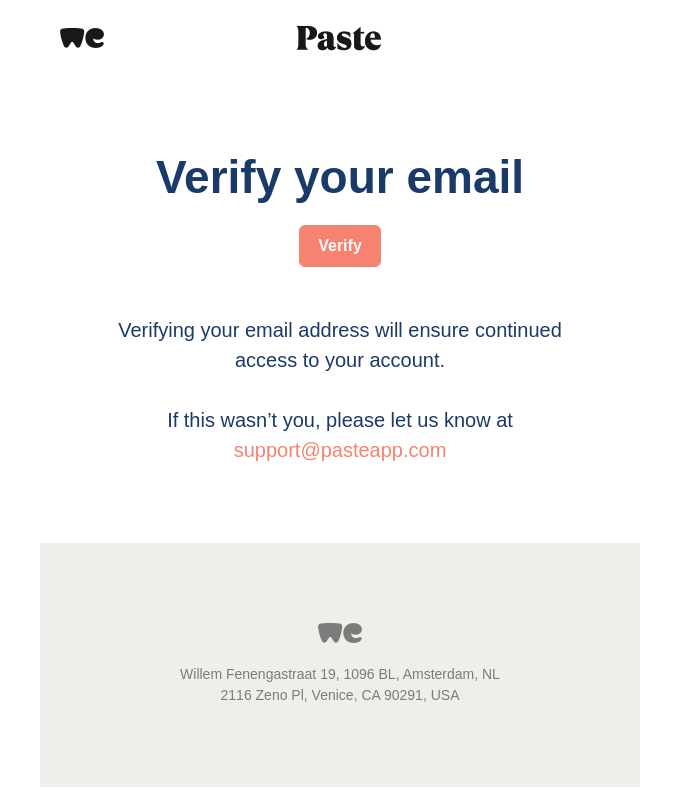 Welcome to Paste | Please verify your email address