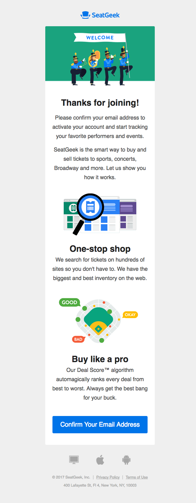 SeatGeek - Welcome Email Design Trends