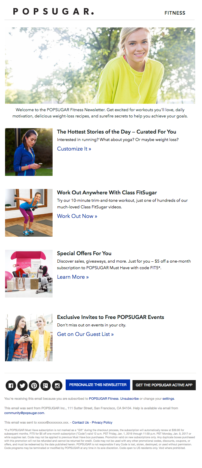 Welcome to the POPSUGAR Fitness Newsletter