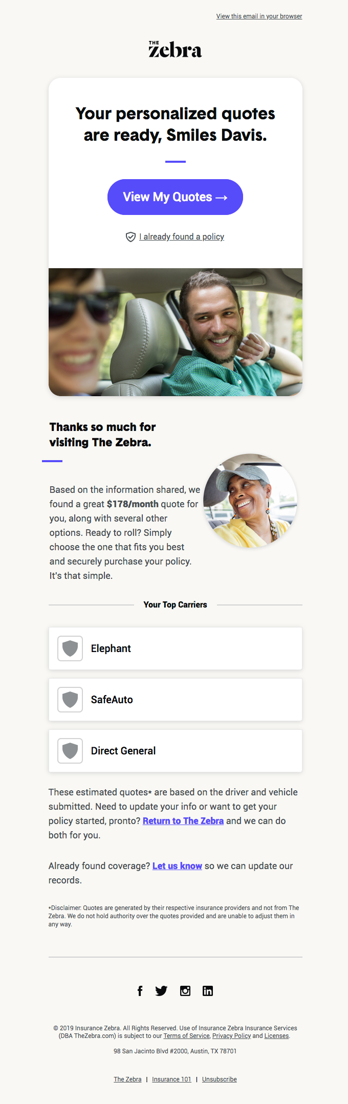 Welcome to TheZebra.com, Smiles Davis. Your quotes are here!