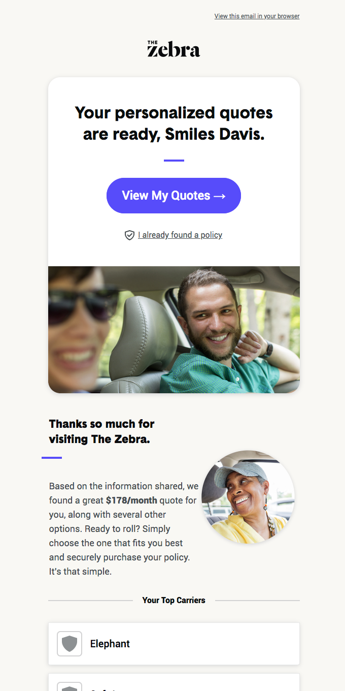 Welcome toTheZebra.com, Smiles Davis. Your quotes are here!