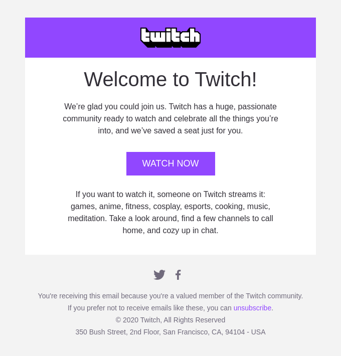 Welcome to Twitch