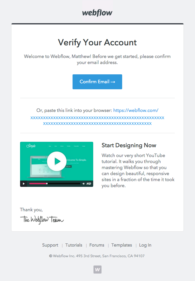 Welcome to Webflow – Please Verify Your Account