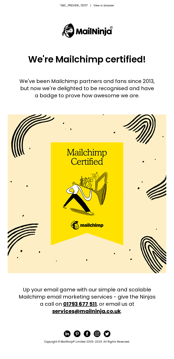 We're Mailchimp certified! 🎉