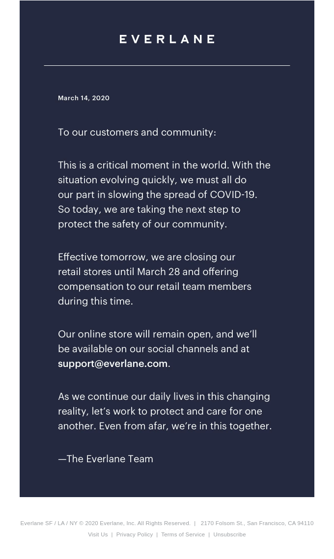 We're Temporarily Closing Our Stores