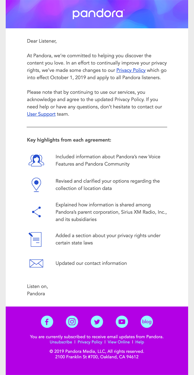 We're updating Pandora's Privacy Policy