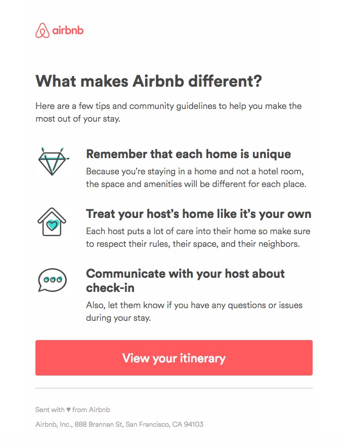 Airbnb Emails on Really Good Emails