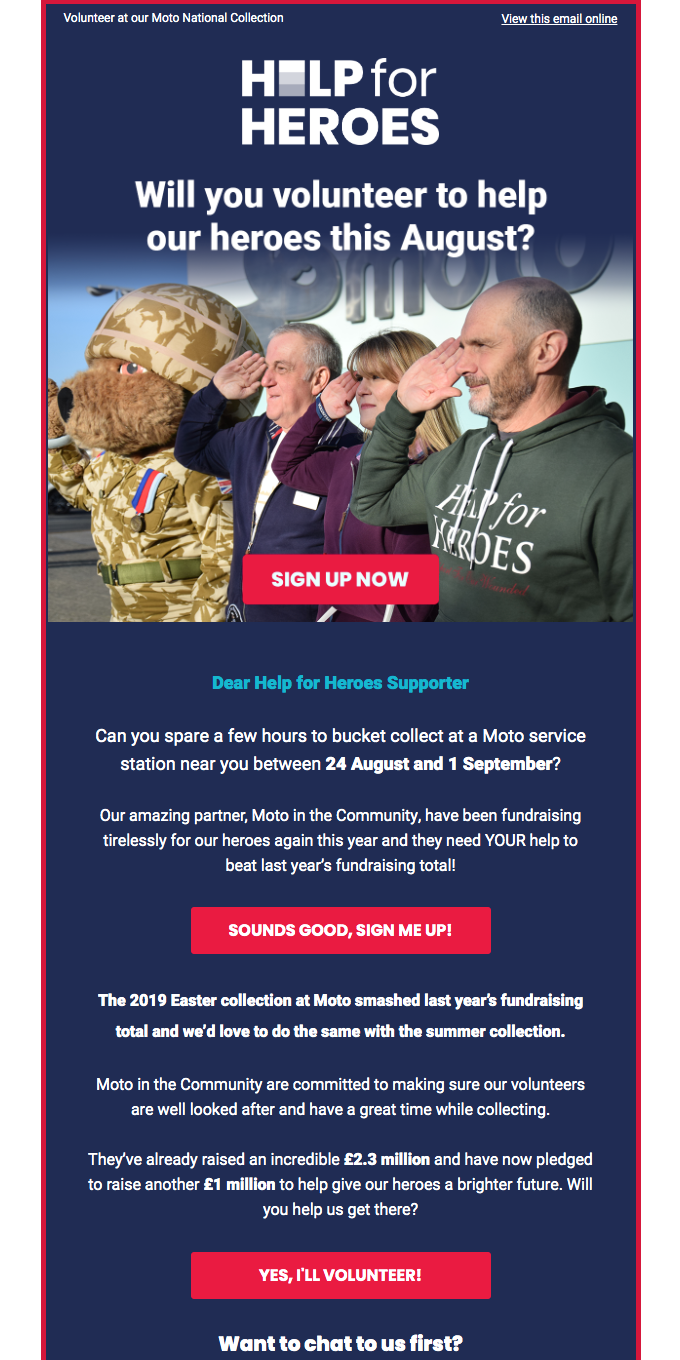Will you volunteer to help our heroes, Smiles Davis