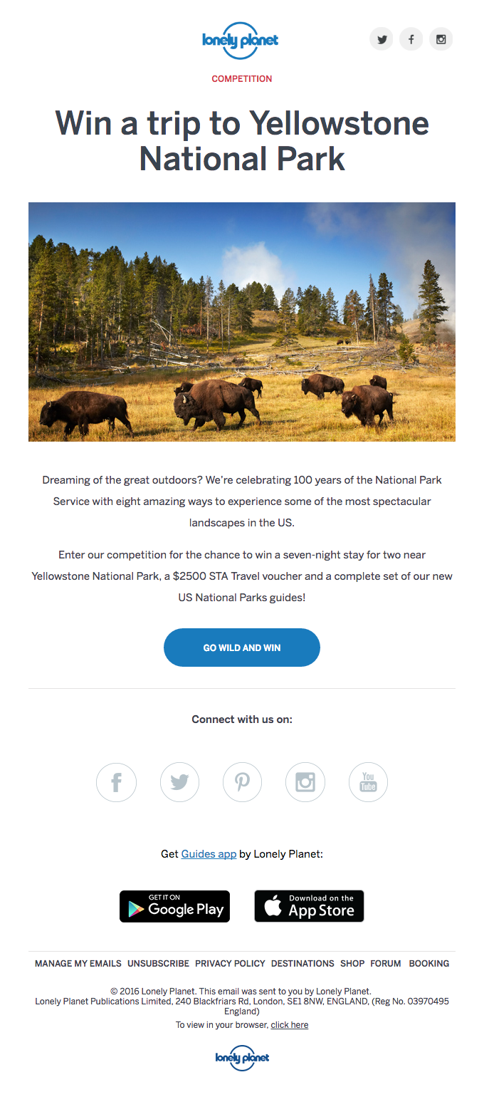 Win a trip to Yellowstone National Park