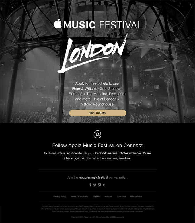 Win Tickets to Apple Music Festival in London.