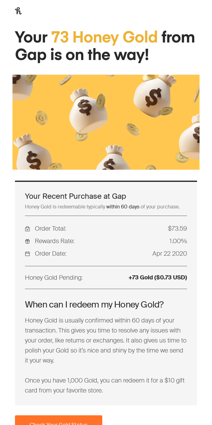 You just earned Honey Gold from Gap!