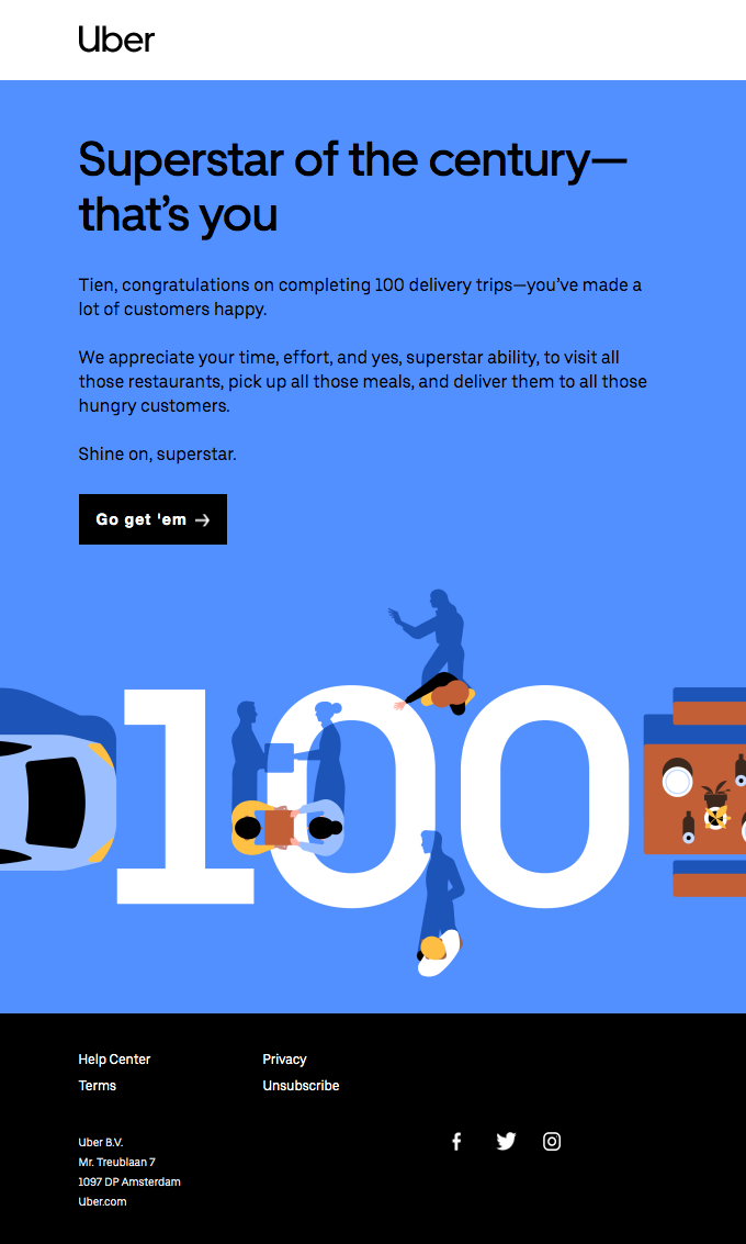 💯 You're in the big leagues, Tien: 100 deliveries made