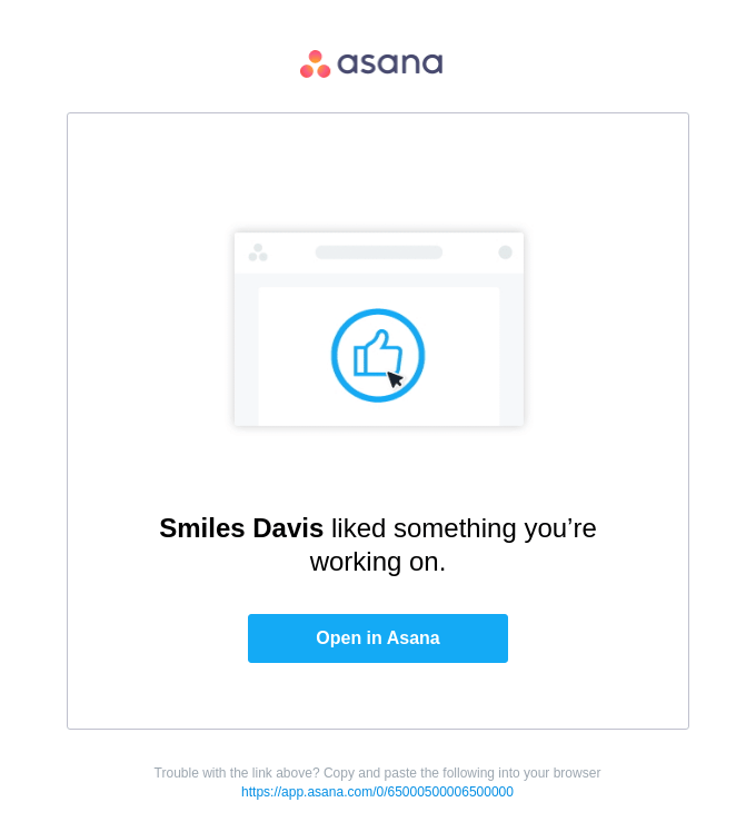 You received a Like on Asana!