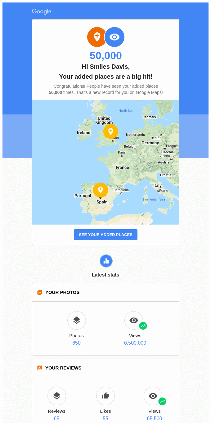 Your added places reached a new record on Google Maps!