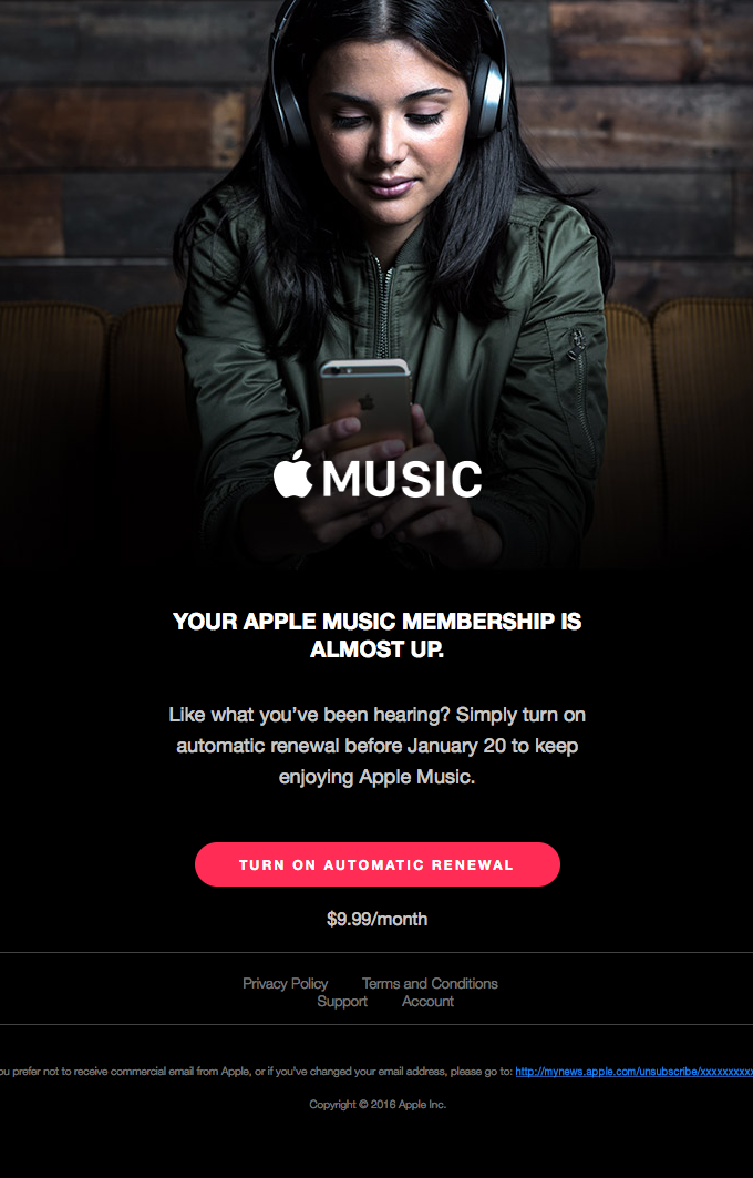 Your Apple Music membership is almost up.
