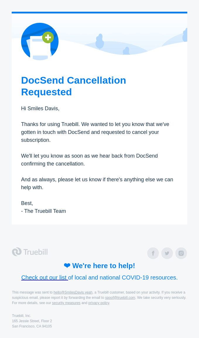 Your DocSend Cancellation Request