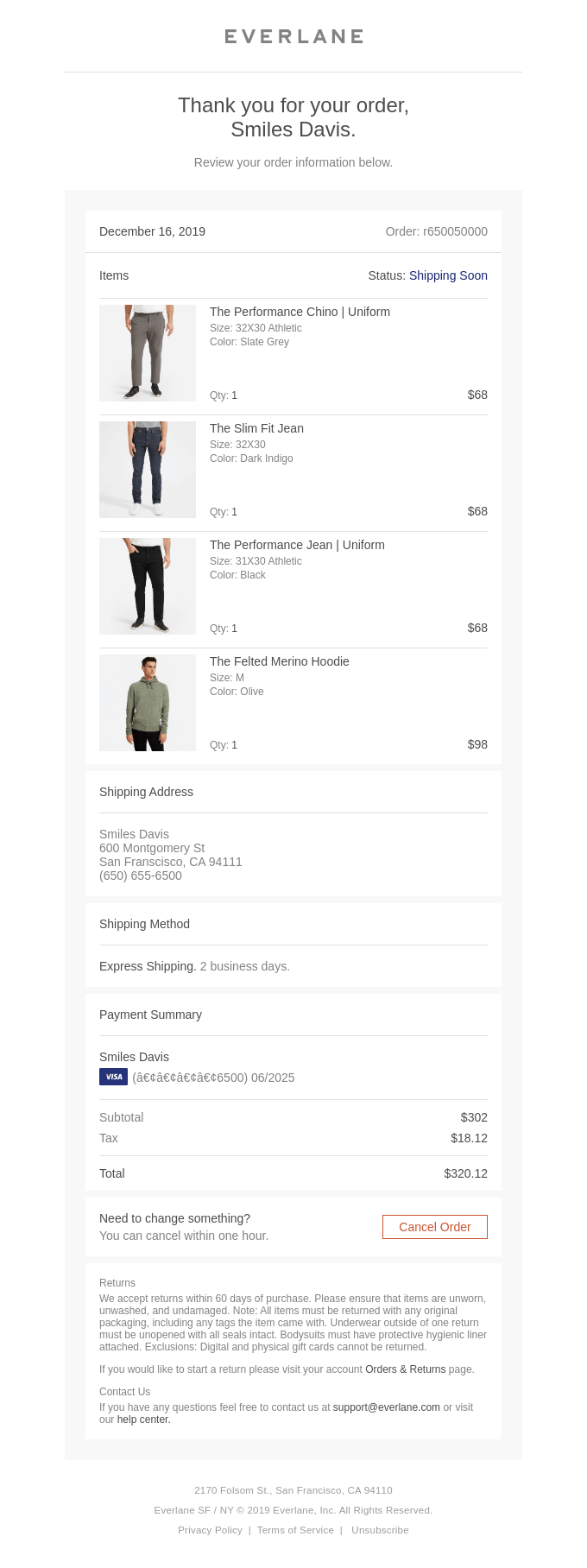 Your Everlane order