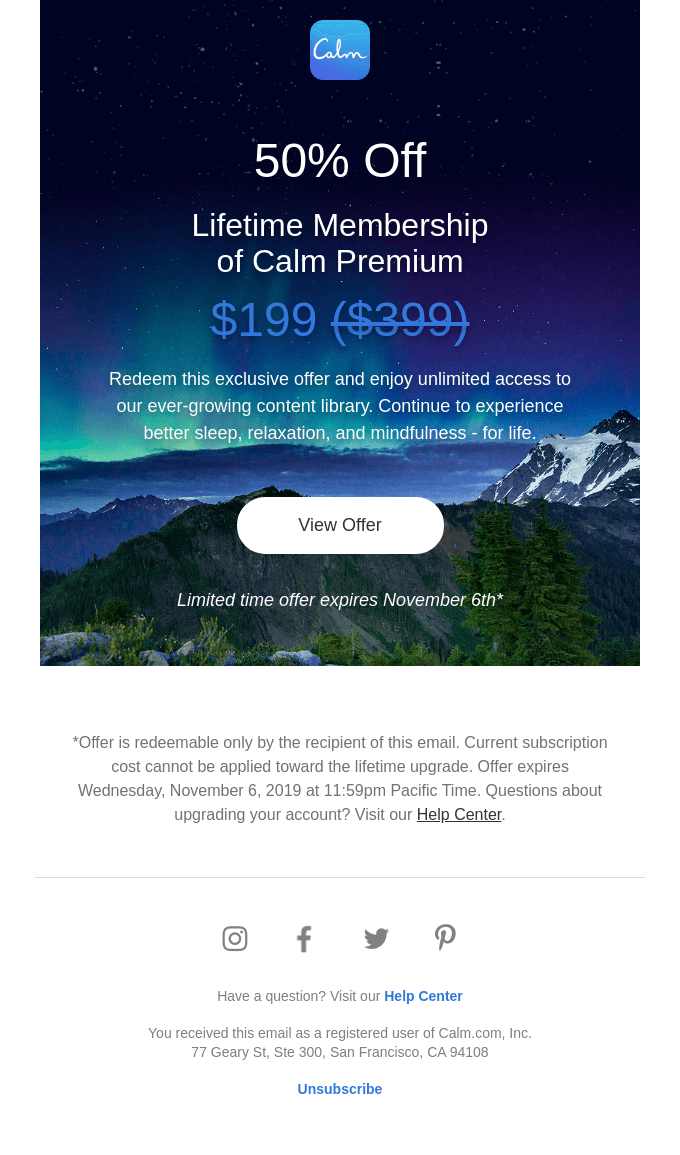 Your exclusive discount on a lifetime of Calm