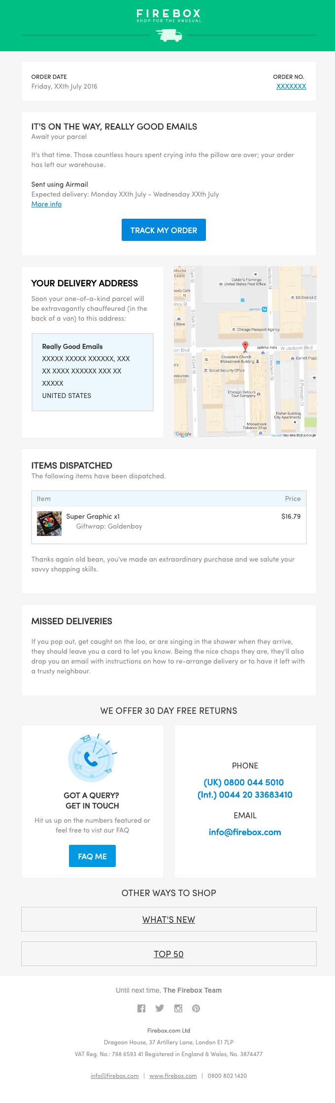 Your Firebox.com order (#XXXXXXX) has been dispatched