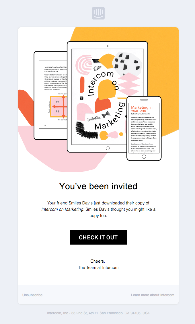 Your friend Smiles Davis invited you to read our book, Intercom on Marketing