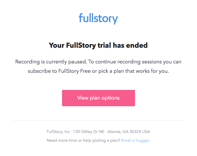 Your FullStory trial has expired