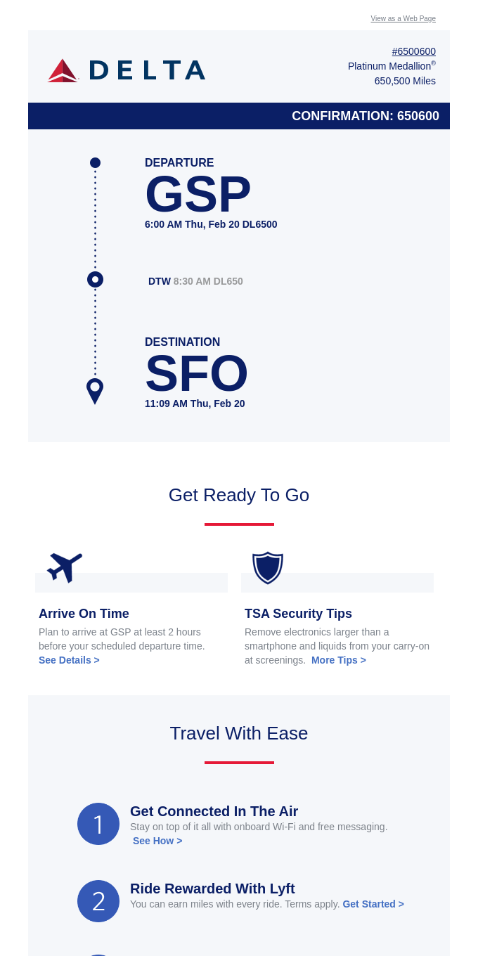 Your GSP > SFO Trip Details