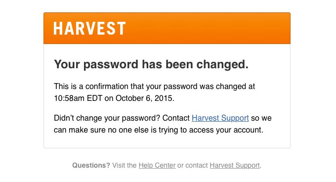 Your Harvest password has been changed