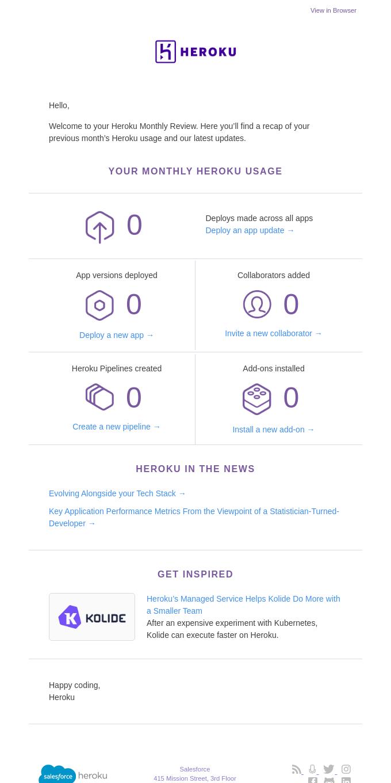 Your Heroku activity report.