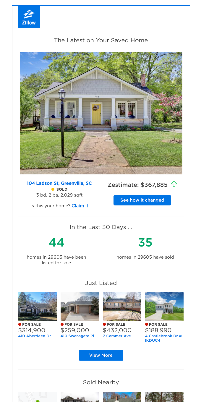 Your Home Report for 104 Ladson St - Values, Forecast, Neighborhood Activity
