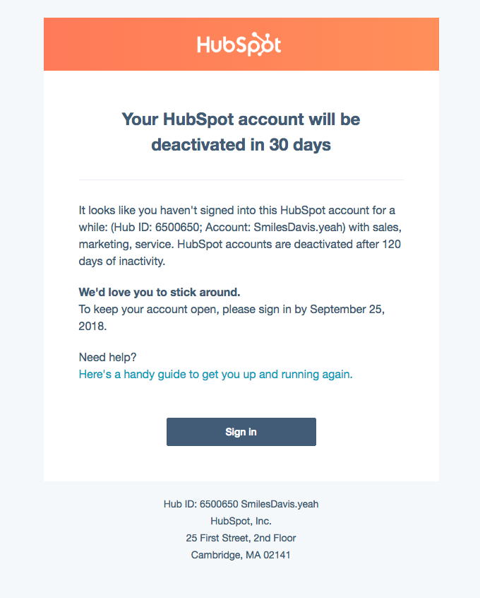 Your HubSpot account will be deactivated in 30 days