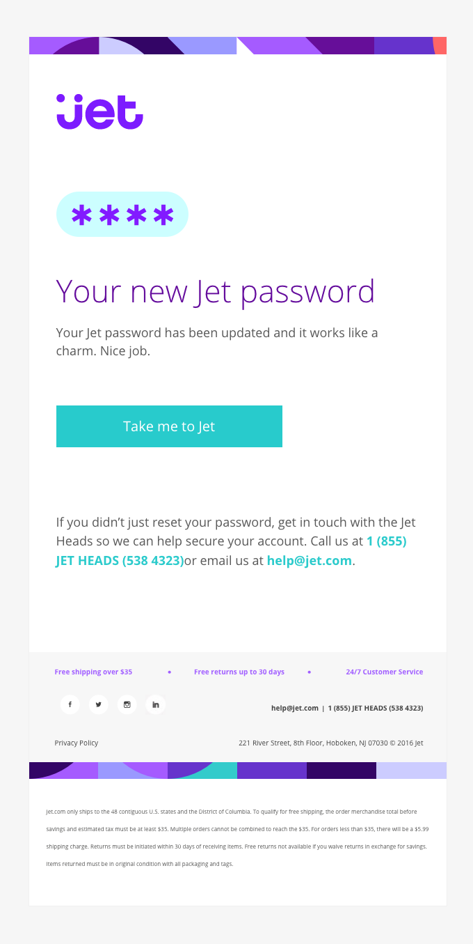 Your Jet password has been updated
