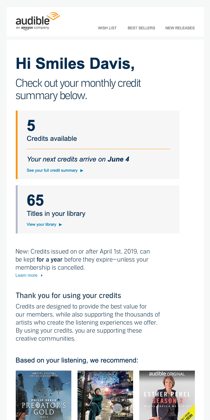 Your monthly Audible credit summary
