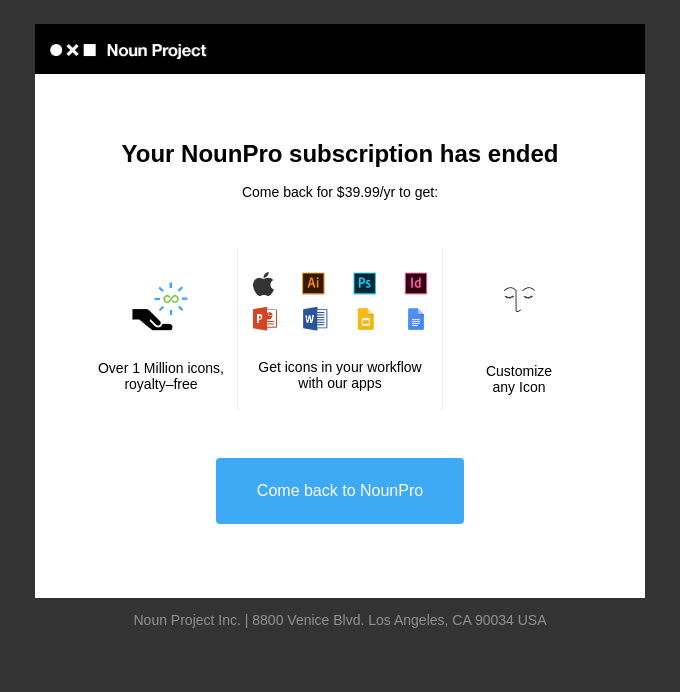 Your NounPro subscription has ended